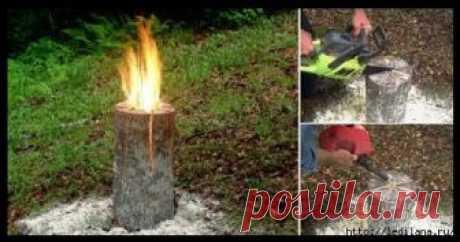 🔴✦➤● СУПЕР ПОЛЕНО «ШВЕДСКИЙ ОГОНЬ» или как девочка учила жизни мужиков | А сейчас еще называют — Дрова для экстремала «индейская свеча», «деревянный примус», «шведский огонь», «финская свечка». Пламя распространяется внутри полена быстро вверх, поскольку боковые разрезы служат для поступления кислорода в зону горения.