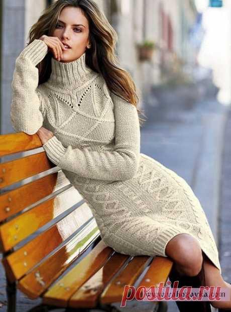 Платье спицами с высоким горлом. Ажурное платье для женщин спицами | Я Хозяйка