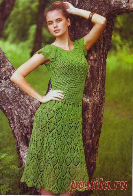 Зелёное женское платье крючком с Ананасами - Портал рукоделия и моды Зелёное женское платье крючком с Ананасами - Портал рукоделия и моды