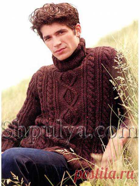 Мужской коричневый свитер с ирландским узором — Шпуля - сайт о вязании