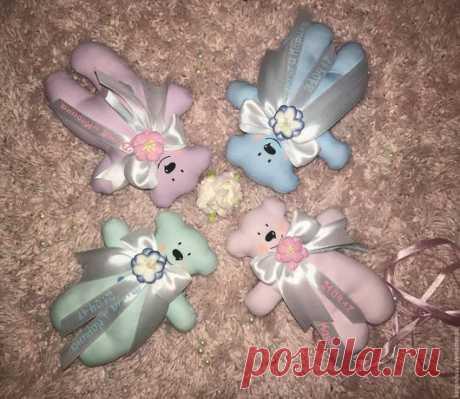 Купить Мишки комплименты гостям - сиреневый, розовый, голубой, комплимент, комплименты гостям, комплимент гостям
