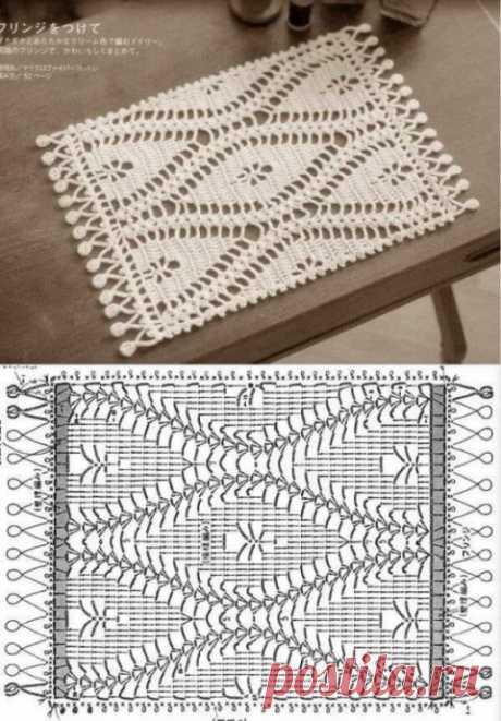 Прямоугольная салфетка крючком