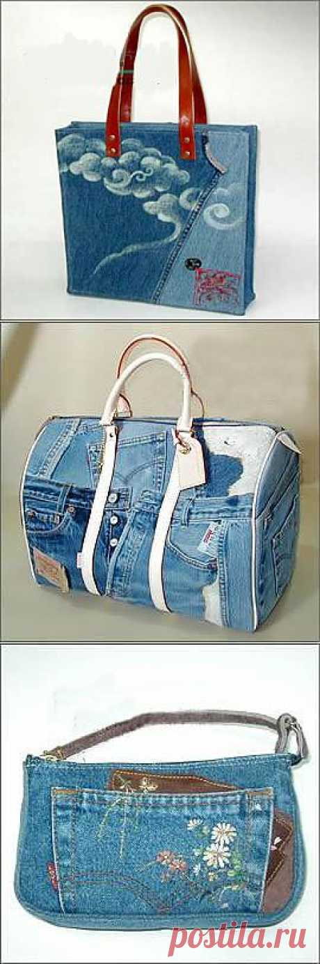BAGS FROM OLD JEANS. Ideas. (found orhideya6868)