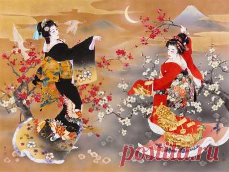 Художница Haruyo Morita. Картины с изящными, грациозными и таинственными красавицами в ярких шелках.
