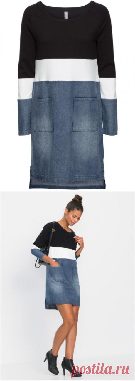 Вязаное платье в миксе материалов черный/кремовый/синий «потертый» купить онлайн - bonprix.ru