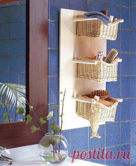 Las cestas trenzadas en el interior
