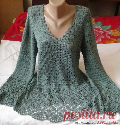 """Pullover with """"паучками"""". Hook. - We knit together online - the Country of Mothers"""