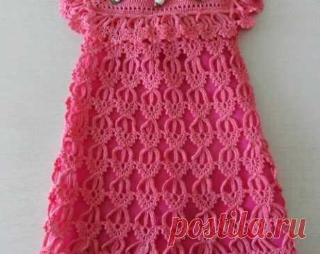 Платье для малышки узором перо ангела. Нарядное платье для девочки крючком схемы