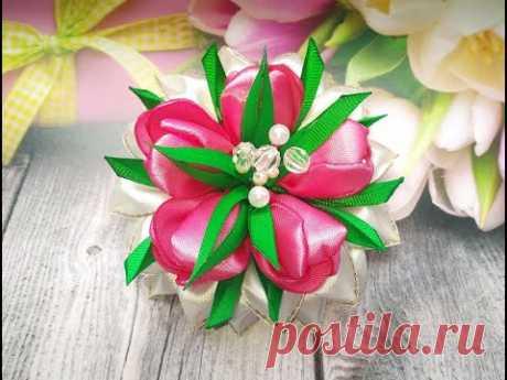 Красивые цветы из лент. Цветы канзаши. Как сделать цветы из лент.
