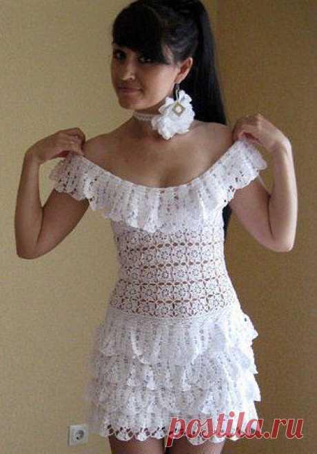 White crochet dresses. Crochet patterns dress   Laboratory household