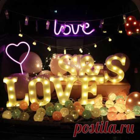 Liviorap светильник лампа с буквами «сделай сам», 26 дюймов, Английский алфавит с цифрами, лампа на батарейках, романтические украшения для свадебной вечеринки|Украшения своими руками для вечеринки| | АлиЭкспресс