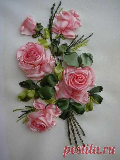 Вышивка розы из лент (мастер-класс)