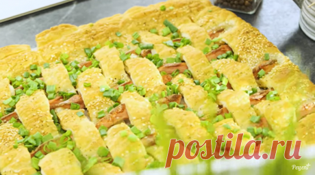 Слоеный пирог с сосисками – быстрое решение для семейного ужина