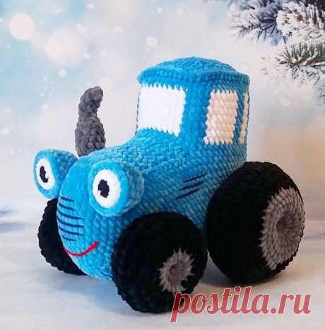 Синий трактор крючком | Схемы игрушек амигуруми