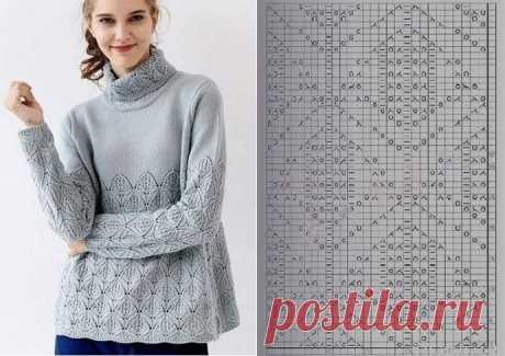 Ажурный узор для свитера спицами