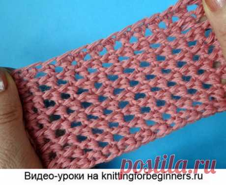 """We begin to knit – Video knitting lessons\"""" \""""Gentle openwork\"""" – the Pattern No. 28 – the Tunisian knitting"""