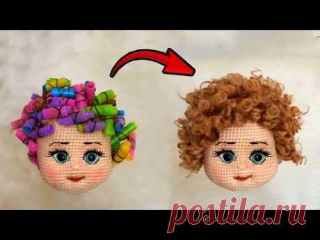 Как я сделала бигуди с соломинками для своей куклы Амигуруми?(ИЗГОТОВЛЕНИЕ ВОЛОС ИЗ АКРИЛОВОЙ ПРЯЖИ)