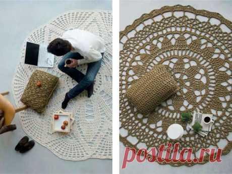 Как связать коврик крючком для начинающих, видео: ковры вязаные
