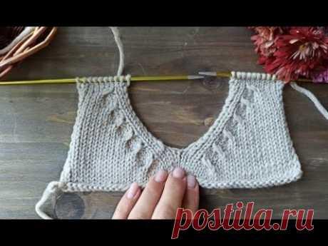 Красивый и интересный способ оформления горловины у джемпера, свитера, кардигана.