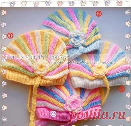 Детские шапочки с укорочеными рядами.