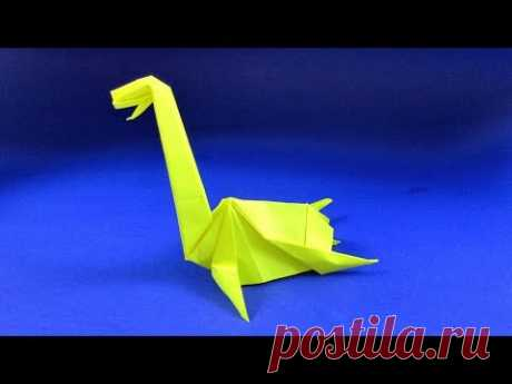 Как сделать динозавра из бумаги. Оригами Плезиозавр