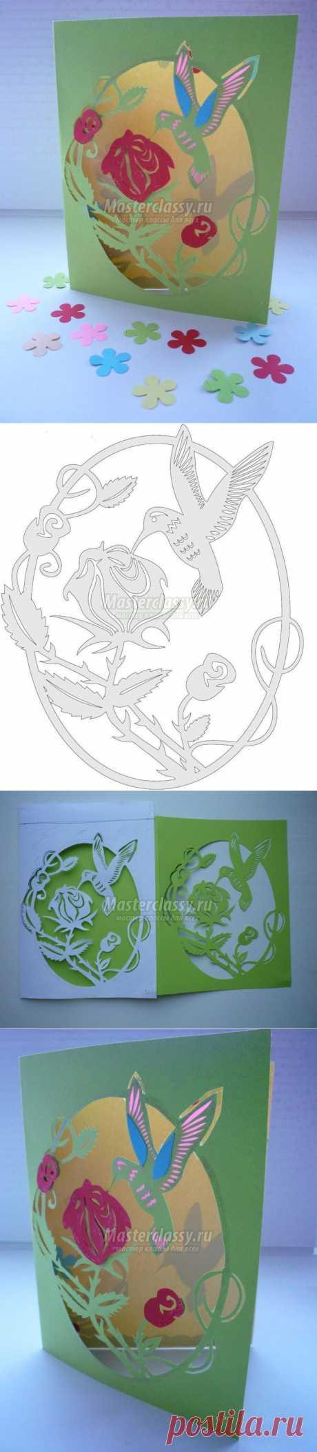 Киригами. Резная открытка к 8 Марта «Колибри». Мастер-класс с пошаговыми фото