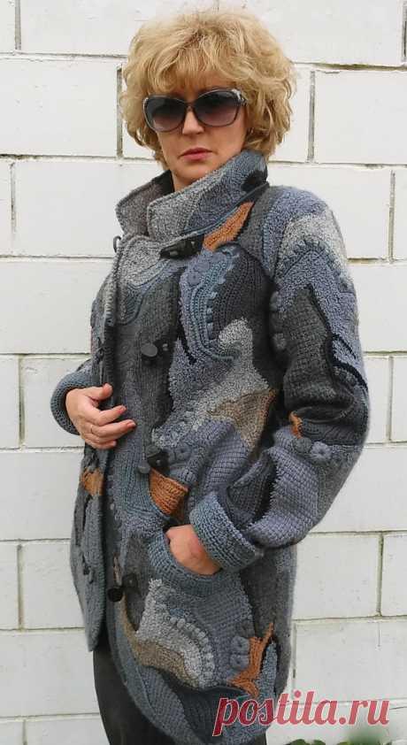 Uncinetto /cardigan cappotto freeform patchwork boho per le