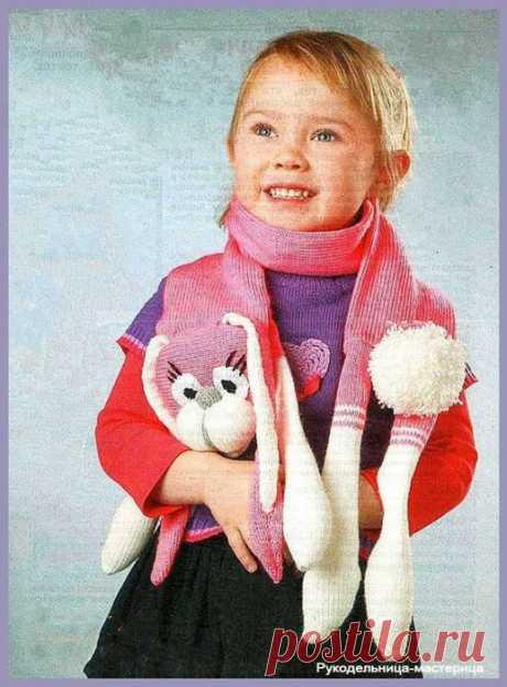 Scarf - hare. Knitting for children