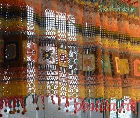 """Занавеска для любительниц стиля """"бохо"""" в интерьере. #crochet #вязание_крючком #салфетки_крючком"""