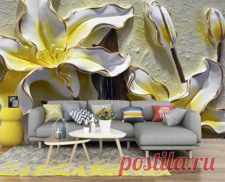 Фотообои с объемным барельефом с цветами желтых лилий