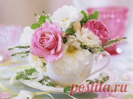 Способы создания цветочной композиции в чашке