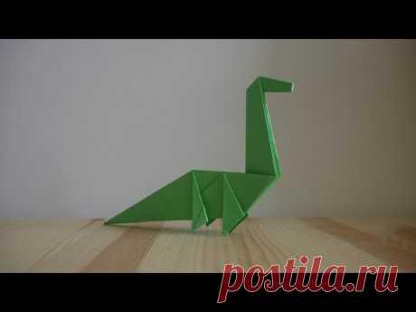 Оригами. Как сделать динозавра из бумаги (видео урок) - YouTube