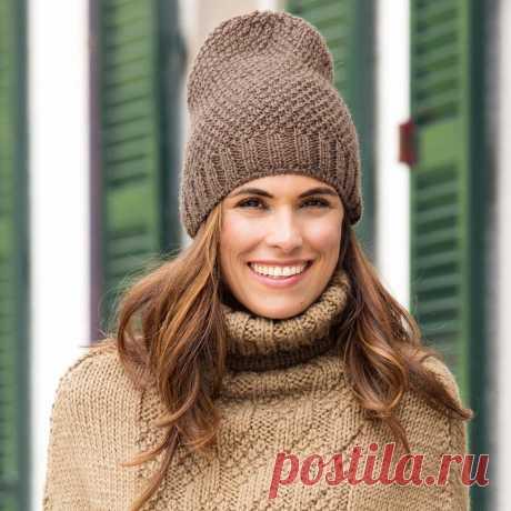 Коричневая шапка - схема вязания спицами. Вяжем Шапки на Verena.ru
