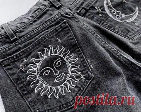 Вышивка на джинсовой одежде. Подборка идей.   Handmade для всех   Яндекс Дзен