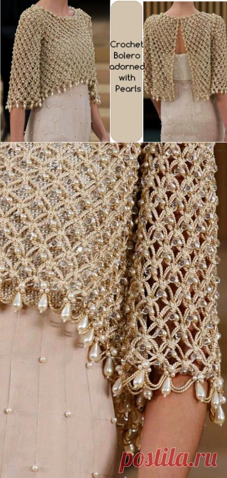 Вяжем роскошное болеро, украшенное бусинами. | Вязание с бисером | Постила