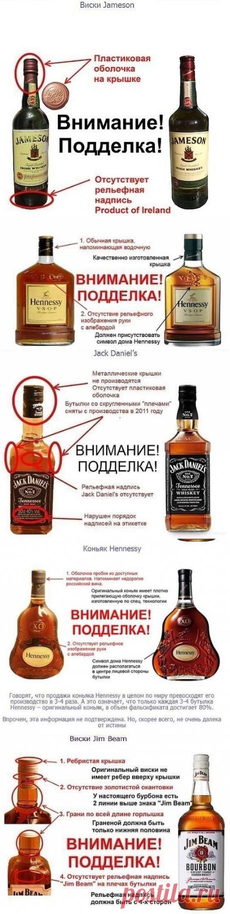 ВНИМАНИЕ, ПОДДЕЛКА !!!  **Отличия настоящего Коньяка, Виски и др.