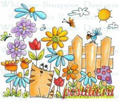 Cat Garden - Whimsical - Floral\/Garden - Rubber Stamps - Shop