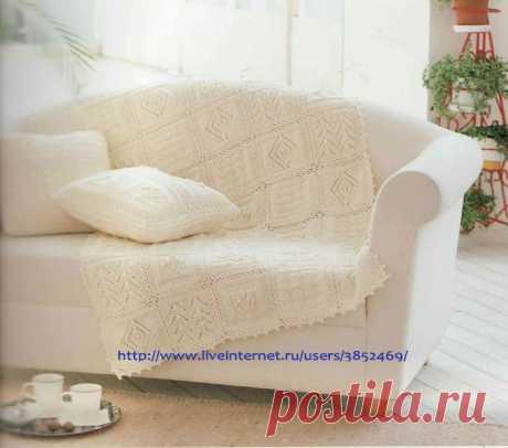 Белый плед с подушками