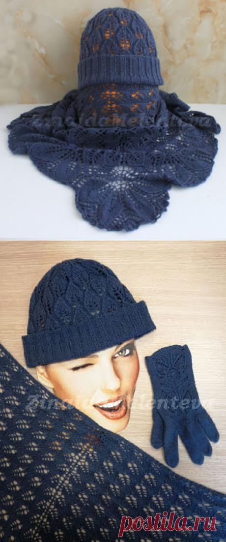 Вяжем вместе: Комплект из шали и шапки с листьями