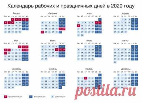 Календарь рабочих, выходных и праздничных дней в 2020 году. Сохраняйте, делитесь!