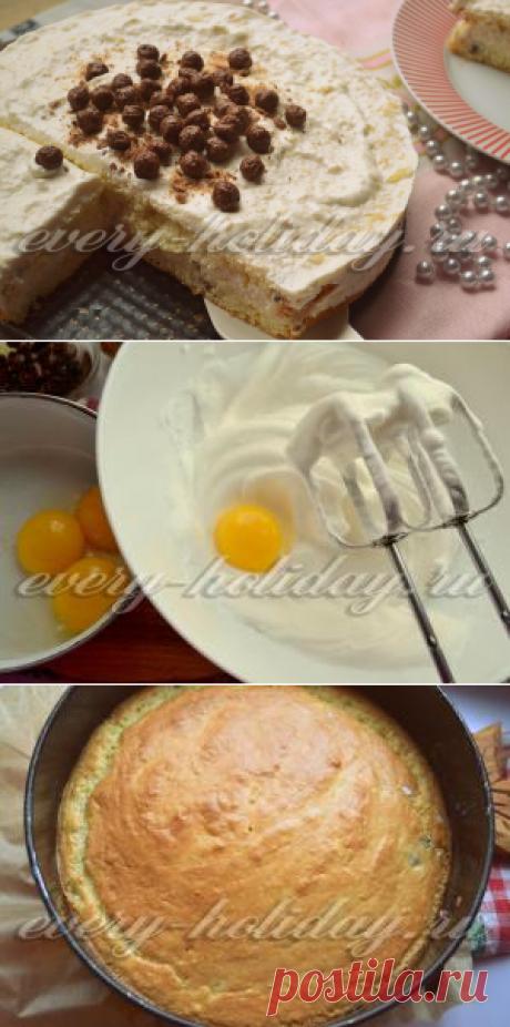 La torta de bizcocho con smetannym por la crema, la receta muy sabrosa y simple con las manzanas
