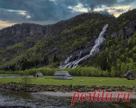 Картинки норвегия, горы, водопады, hildal, скала, природа - обои 1280x1024, картинка №435864