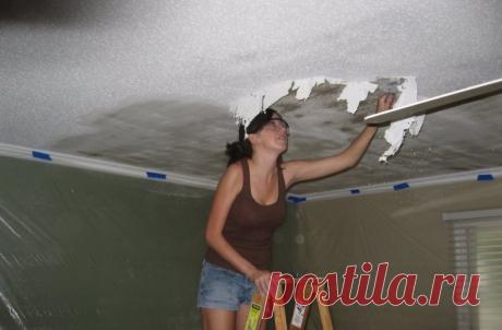 Как полностью снять побелку с потолка за 15 минут домашними средствами | Игорь Волосков | Яндекс Дзен