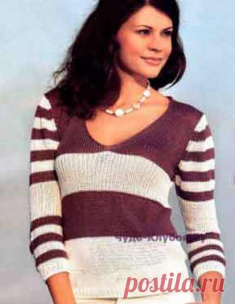 Пуловер в полоску спицами 1330 | ✺❁сайт ЧУДО-клубок ❣ ❂✺Пуловер в полоску 1330 спицами ❂ ►►➤6 000 ✿моделей вязания ❣❣❣ 70 000 узоров►►Заходите❣❣ %