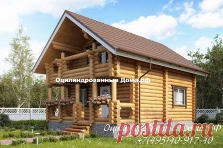 Дом с мансардой из оцилиндрованного бревна Сказка - 78м2 (7м х 5,5м) - Оцилиндрованные Дома.РФ