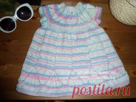 Вязанное спицами платье для девочки. Работа Светланы, Вязание для детей