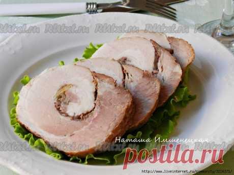 El panecillo de cerdo grudinki, cocido en el horno