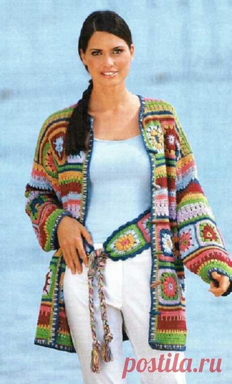 Разноцветный кардиган и пояс в стиле пэчворк | Шкатулочка для рукодельниц
