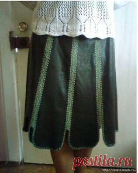 Юбка комбинированная (кожа и вязание) от Ираред.