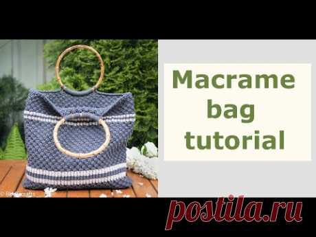 Как сделать сумку  макраме в полоску - пошаговое руководство